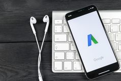 Google AdWords application icon on Apple iPhone X screen close-up. Google Ad Words icon. Google Adwords application. Social media. Sankt-Petersburg, Russia, June stock images