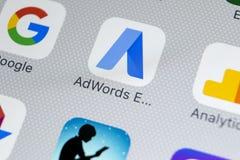 Google AdWords ekspresowa podaniowa ikona na Jabłczany X iPhone parawanowym zakończeniu Google reklamy słowa Wyrażają ikonę Googl fotografia royalty free