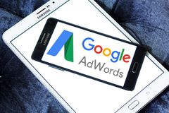 Google AdWords logo. Logo of Google AdWords on samsung mobile. Google AdWords is an online advertising service developed by Google, where advertisers pay to Royalty Free Stock Images