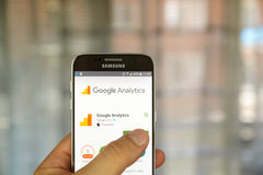 Google analytics app. MONTREAL, CANADA - JUNE 23, 2016 : Google analytics application on Samsung S7 screen. Google Analytics is a freemium web analytics service Stock Images