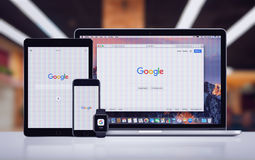 Google on the Apple iPhone 7 iPad Pro Apple Watch and Macbook Pro royalty free stock photography