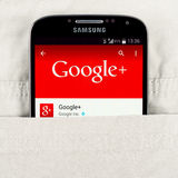 Google application on the Samsung galaxy display Royalty Free Stock Photography