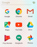 Google applications logos. MONTREAL, CANADA - MAY 23, 2016 : Google applications logos on cellphone screen. Google is an American multinational technology royalty free stock image