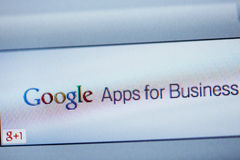 Google Apps για την επιχείρηση στη οθόνη υπολογιστή Στοκ φωτογραφία με δικαίωμα ελεύθερης χρήσης