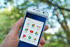 Google Apps στη Samsung S7 Στοκ Φωτογραφία