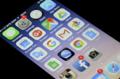 Google apps. All Google developed apps on iphone screen Stock Photo