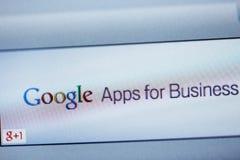 Google Apps para el negocio en la pantalla de ordenador Fotografía de archivo libre de regalías