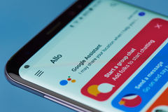 Google assistant  application menu Royalty Free Stock Photo