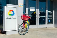 Google bicycle parked at employee entrance to Google Cloud campus