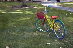 Google bike on the green land Royalty Free Stock Photos