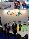 Google Booth. Aerial view of the Google booth at the Systems Fair in Munich, Germany Royalty Free Stock Photos