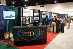 Google booth at the conference. SAN DIEGO, JUNE 18: Google booth featuring SketchUp at the ESRI international user conference which is held annually and is the stock photos