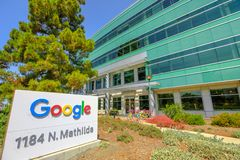 Google buildings in Sunnyvale. Sunnyvale, CA, USA - August 12, 2018: Google HQ is located in Mountain View and has also expanded to Sunnyvale, California.3,000 royalty free stock image