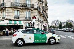 Google car on the Paris streets. 4 september 2014 Royalty Free Stock Photos