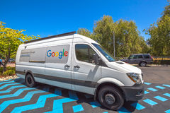 Google car van. Mountain View, California, United States - August 15, 2016: the famous Google car van used by Google employees to move around the Google Royalty Free Stock Photo
