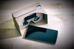 Google Cardboard with Smart Phone Royalty Free Stock Photography