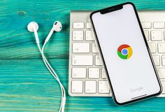 Google Chrome application icon on Apple iPhone X screen close-up. Google Chrome app icon. Google Chrome application. Social media. Sankt-Petersburg, Russia, June stock image