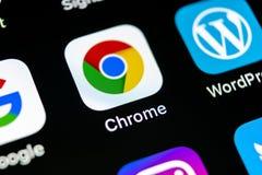 Google Chrome applikationsymbol på närbild för skärm för Apple iPhone X Google Chrome app symbol Google Chrome applikation samla  Fotografering för Bildbyråer