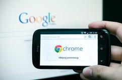 Google Chrome mobil rengöringsdukwebbläsare Arkivfoton