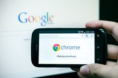Google Chrome mobile web browser Stock Photos