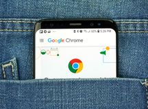 Google Chrome on a phone screen in a pocket stock image