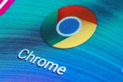 Google Chrome-pictogram op het mobiele scherm royalty-vrije stock foto's
