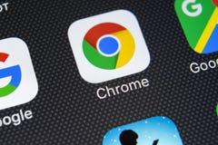 Google Chrome-toepassingspictogram op Apple-iPhone X het schermclose-up Het pictogram van Google Chrome app Google Chrome-Toepass Stock Fotografie