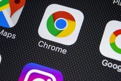 Google Chrome-toepassingspictogram op Apple-iPhone X het schermclose-up Het pictogram van Google Chrome app Google Chrome-Toepass Royalty-vrije Stock Foto's