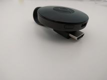 Google Chromecast 2 White background royalty free stock photos