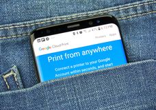 Google Cloud Print on a phone screen in a pocket. MONTREAL, CANADA - OCTOBER 4, 2018: Google Cloud Print app on s8 screen. Cloud Print is a Google service that stock images