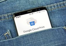 Google Cloud Print on a phone screen in a pocket. MONTREAL, CANADA - OCTOBER 4, 2018: Google Cloud Print app on s8 screen. Cloud Print is a Google service that royalty free stock image