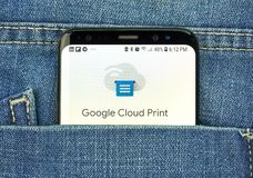 Google Cloud Print on a phone screen in a pocket. MONTREAL, CANADA - OCTOBER 4, 2018: Google Cloud Print app on s8 screen. Cloud Print is a Google service that royalty free stock photography