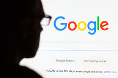 Google.com landing site on computer screen in 2015 stock image