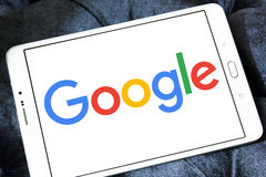 Google company logo. Logo of google company on samsung tablet Royalty Free Stock Image