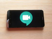 Google-de Ontmoetingsplaatsen ontmoeten app royalty-vrije stock foto