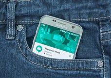 Google-de Ontmoetingsplaatsen ontmoeten mobiele toepassing op het scherm van Samsung royalty-vrije stock foto's