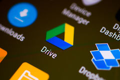 Google Drive application thumbnail logo on an android smartphone. Application thumbnail logo on an android smartphone, close-up Royalty Free Stock Image