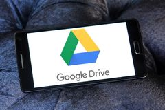 Google Drive logo. Logo of Google Drive on samsung mobile. Google Drive is a file storage and synchronization service developed by Google. it allows users to Stock Photos