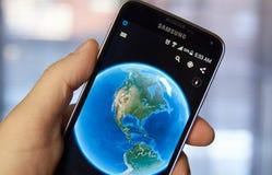 Google Earth app móvil Foto de archivo libre de regalías