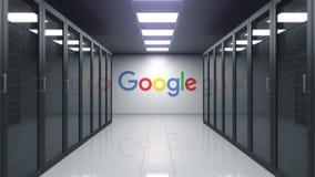 Google-embleem op de muur van de serverruimte Redactie 3D animatie stock footage