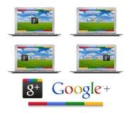 Google+ en el aire de MacBook Foto de archivo