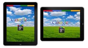 Google+ en iPad stock de ilustración
