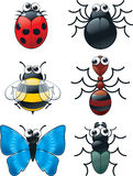 Google Eyed Bugs. A cartoon set of varying bugs with google eyes Stock Images