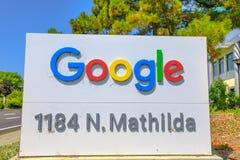 Google firma adentro Sunnyvale imagen de archivo