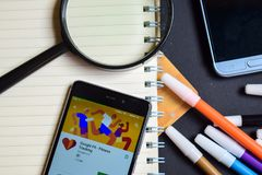 Google Fit - Fitness Tracking App on Smartphone screen. BEKASI, WEST JAVA, INDONESIA. AUGUST 17, 2018 : Google Fit - Fitness Tracking App on Smartphone screen stock photos