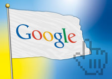 Google flag with old logo 2015. Vector file, google flag old logo, illustration Royalty Free Stock Photos