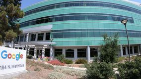 Google-gebouwen in Sunnyvale stock footage