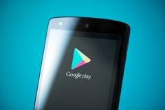 Google gioca il logo sul nesso 5 di Google Fotografia Stock Libera da Diritti