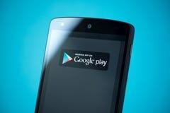 Google gioca il segno sul nesso 5 di Google Fotografia Stock