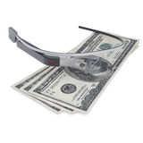 Google-Glas en drie honderd dollars Royalty-vrije Stock Foto's